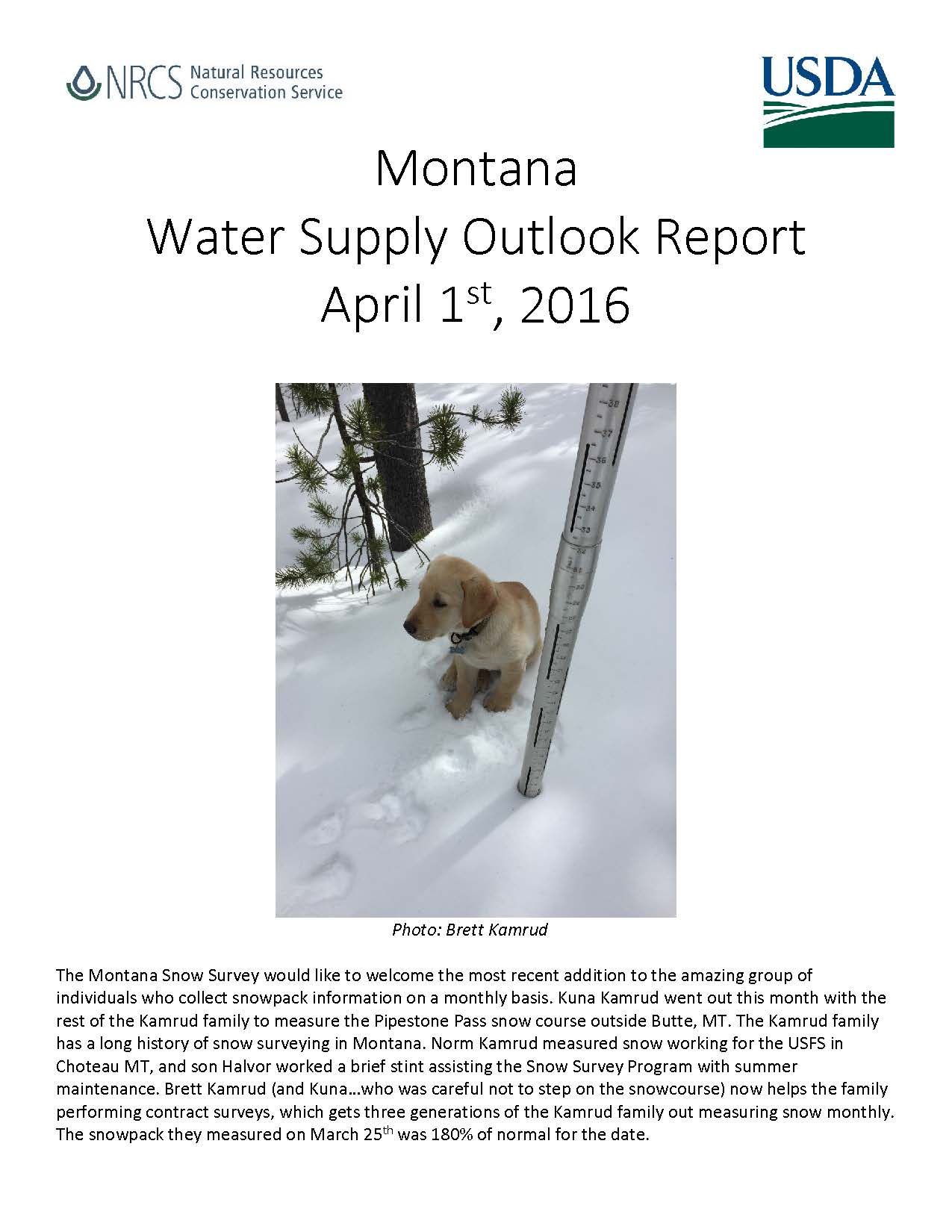 April 1st, 2016 Water Supply Outlook Report Coverpage