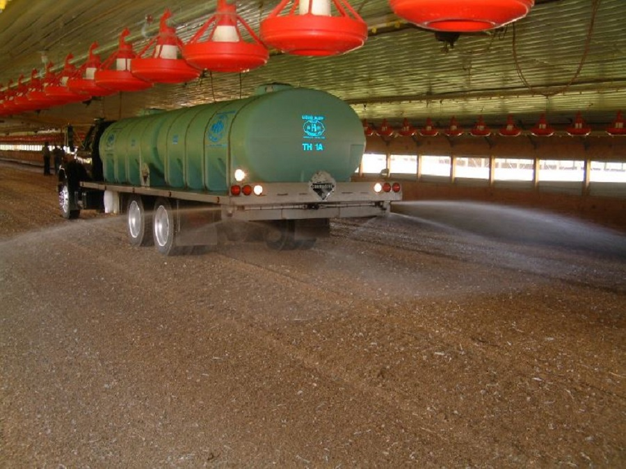 Aluminum sulfate (alum) is added to poultry litter in the poultry house to reduce ammonia volatilization
