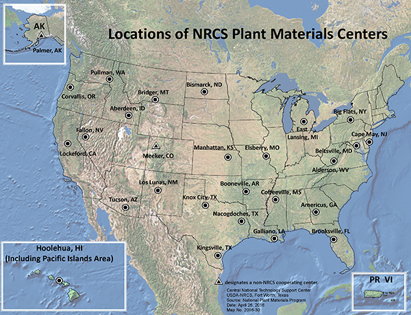 NRCS Plant Materials Centers Location Map