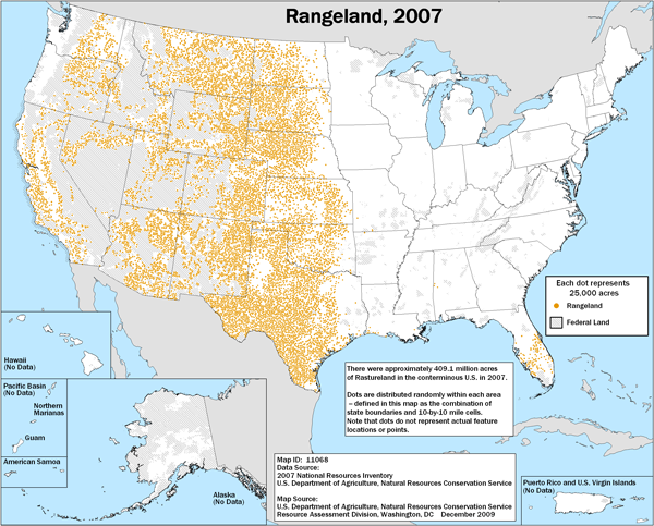 Map showing distribution of rangeland