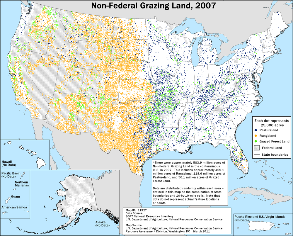 Grazing Lands National Assessment NRCS - Us federal lands map