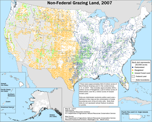 Map showing Acres of Non-Federal Grazing Land, 2007