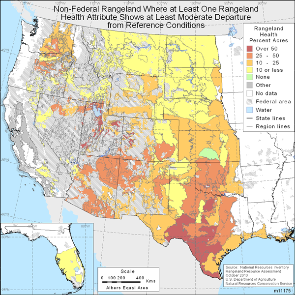 Map showing Non-federal rangeland where at least one rangeland health attribute shows at least moderate departure from reference conditions