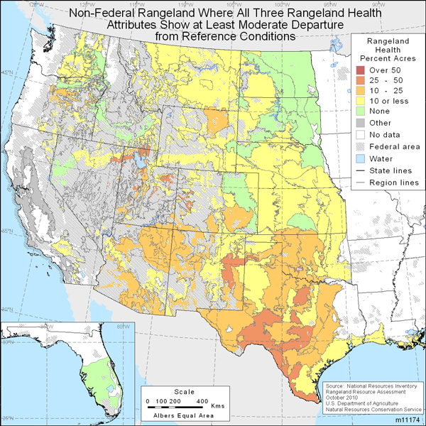 Map showing Non-Federal rangeland where all three rangeland health attributes show at least moderate departure from reference conditions