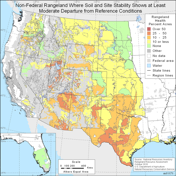 Map showing Non-Federal rangeland where soil and site stability shows at least moderate departure from reference conditions