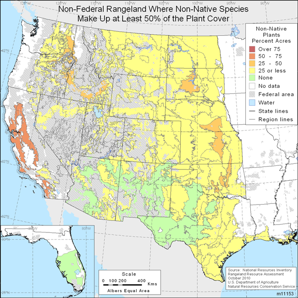 Map showing Percent of non-Federal rangeland where non-native species comprise at least 50% of the plant cover