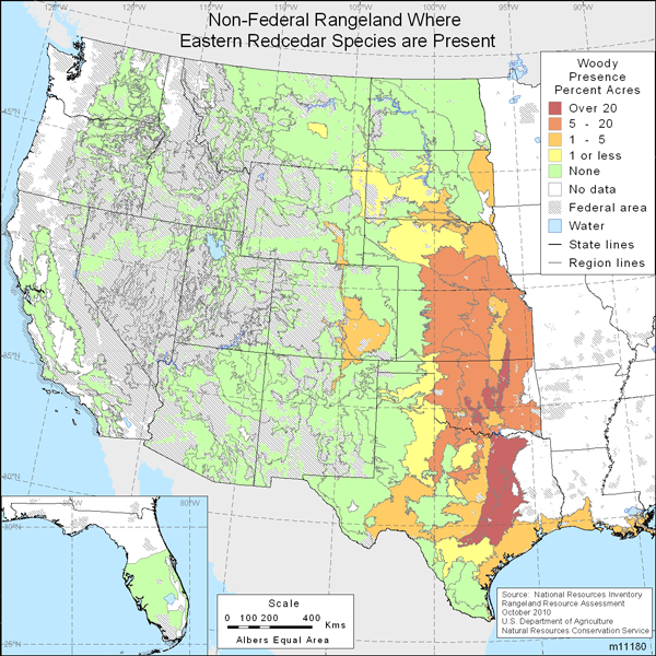 Map showing Percent non-Federal rangeland where Eastern redcedar are present
