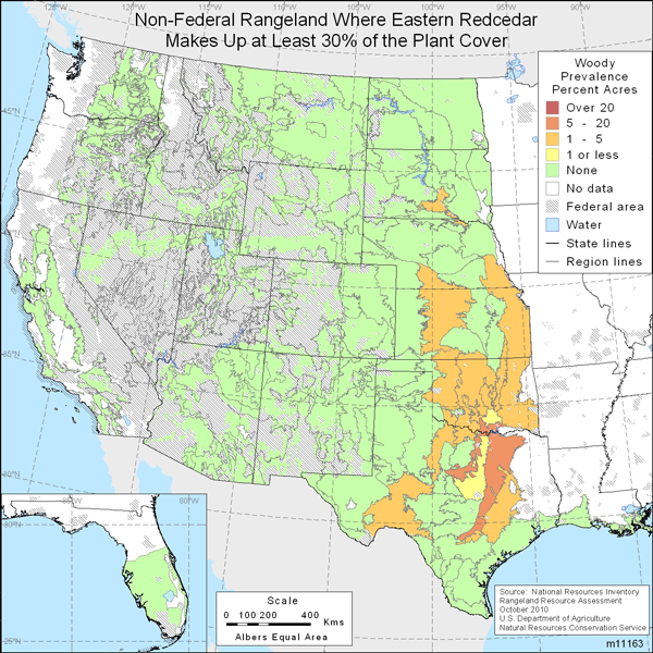 Map showing Percent non-Federal rangeland where Eastern redcedar comprise at least 30% of the plant cover