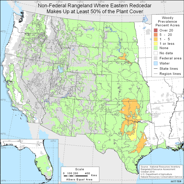 Map showing Percent non-Federal rangeland where Eastern redcedar comprise at least 50% of the plant cover