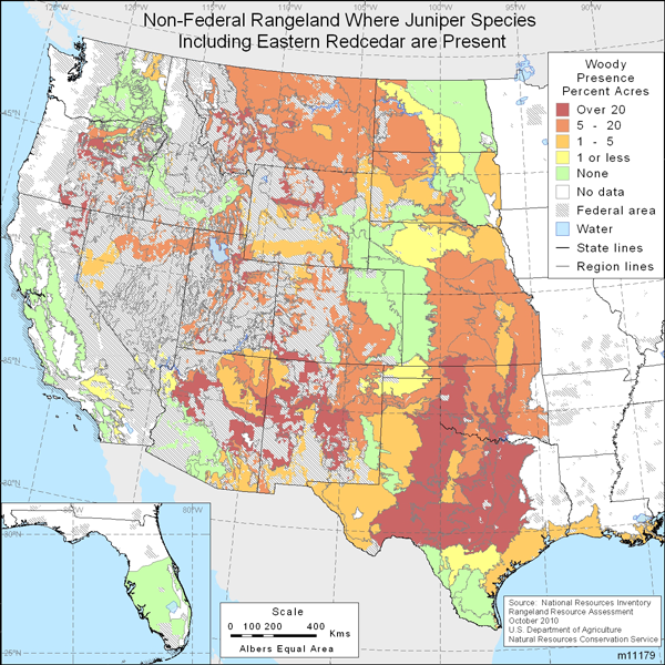Map showing Percent non-Federal rangeland where juniper species including Eastern redcedar are present