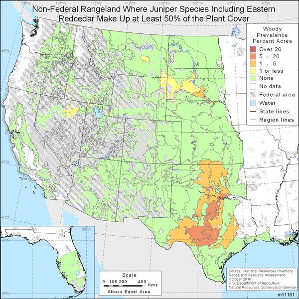 Map showing Percent non-Federal rangeland where juniper species including Eastern redcedar comprise at least 50% of the plant cover