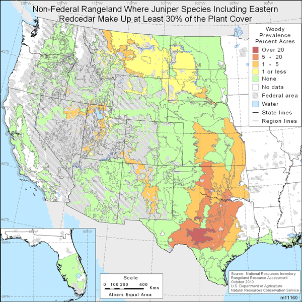 Map showing Percent non-Federal rangeland where juniper species including Eastern redcedar comprise at least 30% of the plant cover