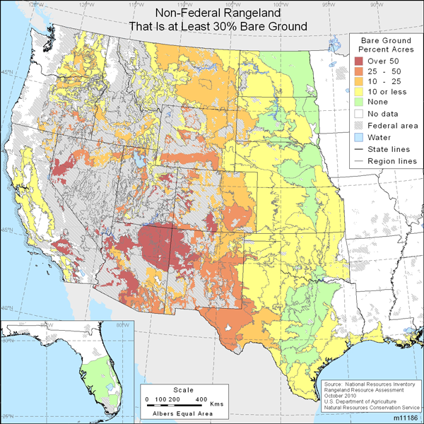 Map showing percent non-Federal rangeland that is at least 30% bare ground