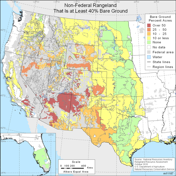 Map showing percent non-Federal rangeland that is at least 40% bare ground
