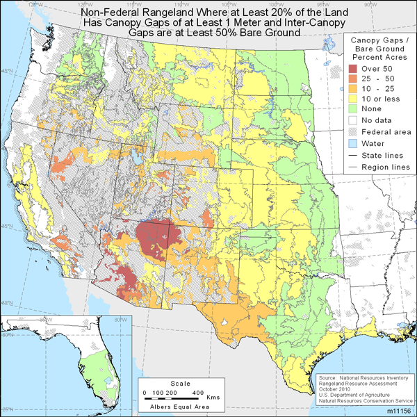 Map showing percent of non-Federal rangeland where at least 20% of the area is covered with intercanopy gaps of at least 1 meter in size and intercanopy gaps are at least 50% bare ground