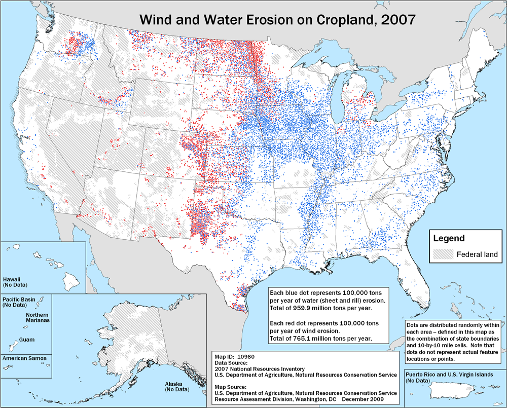 Soil erosion on cropland 2007 nrcs map showing wind and water erosion on cropland 2007 sciox Images
