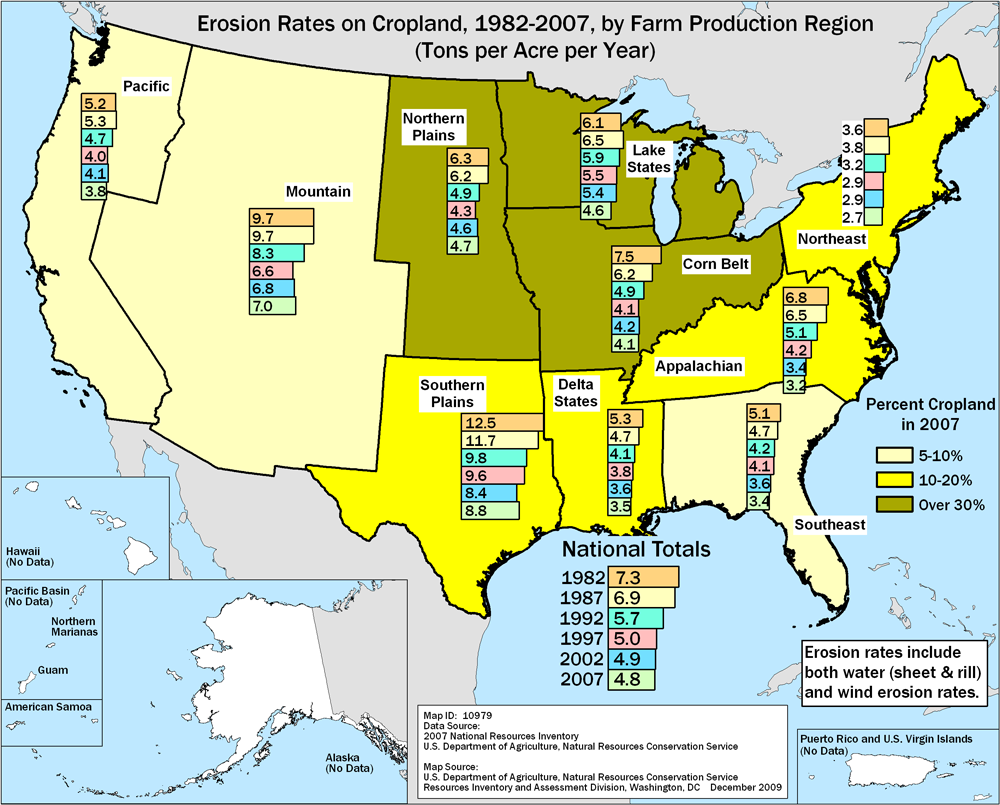 Soil Erosion On Cropland NRCS - Agriculture by state us map