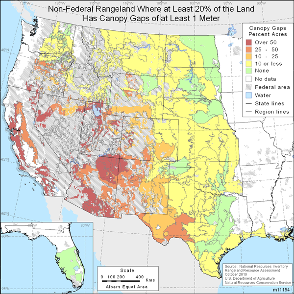 Map showing percent of non-Federal rangeland where at least 20% of the area is covered with intercanopy gaps of at least 1 meter in size