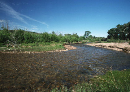 Trinchera River photo, link to stream restoration
