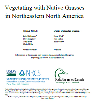 Publication cover page for Vegetating with Native Grasses in Northeastern North America