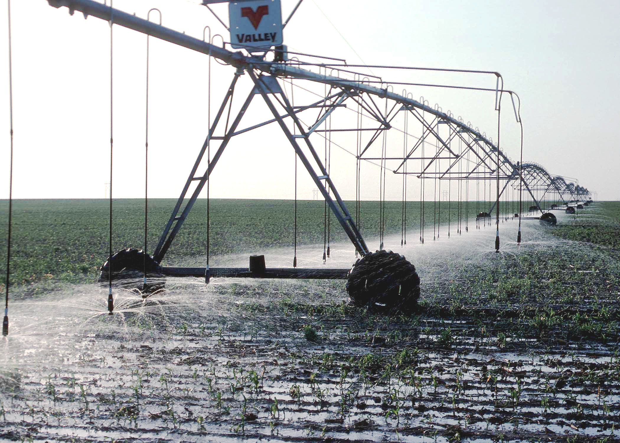 Irrigation system that travels on wheels, showing the emitters low to the ground to minimize evaporation