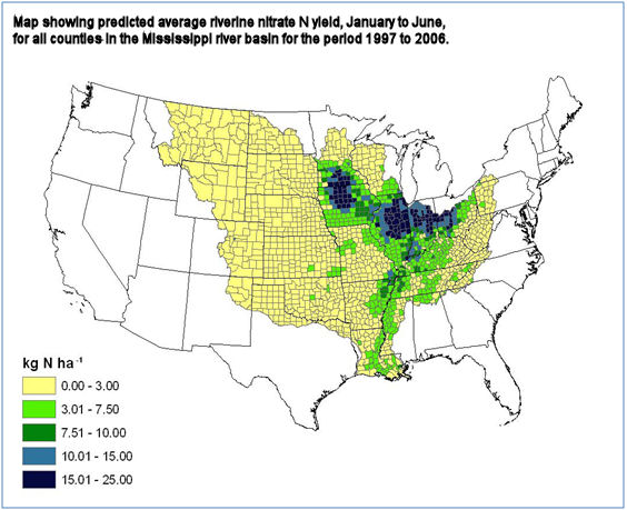 map of nitrate yield