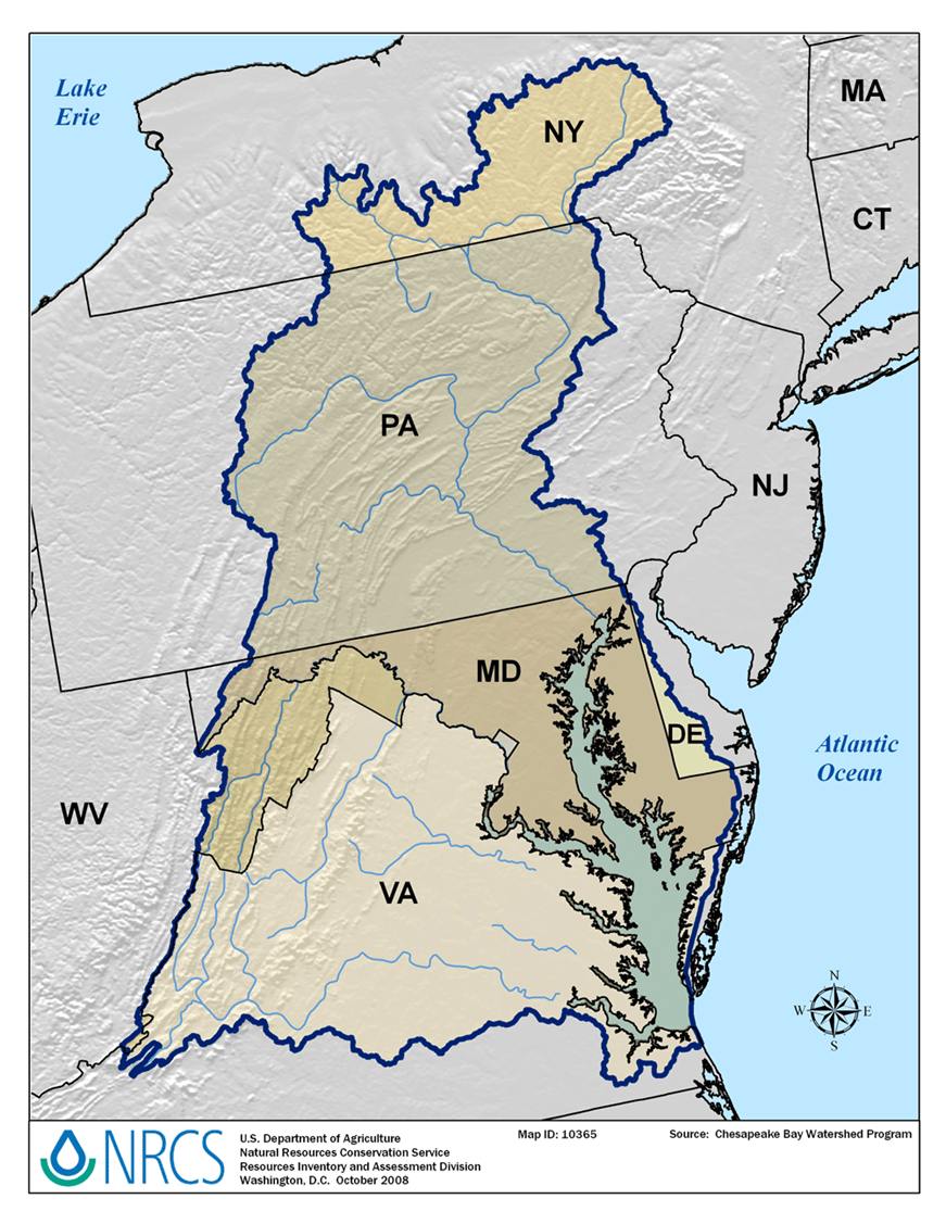 Chesapeake Bay On Map Of Usa.Chesapeake Bay Watershed Nrcs