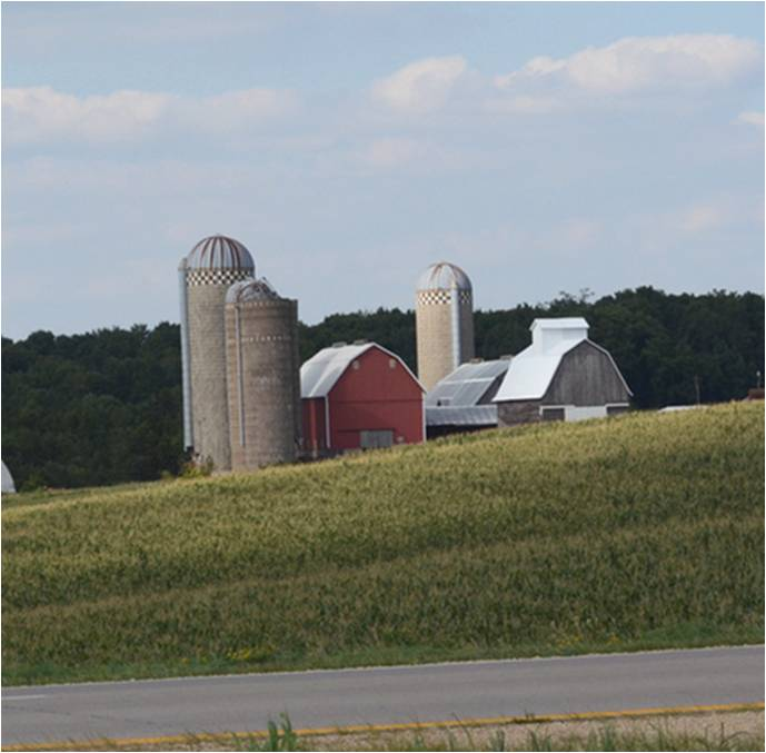 US farm with silo and barn