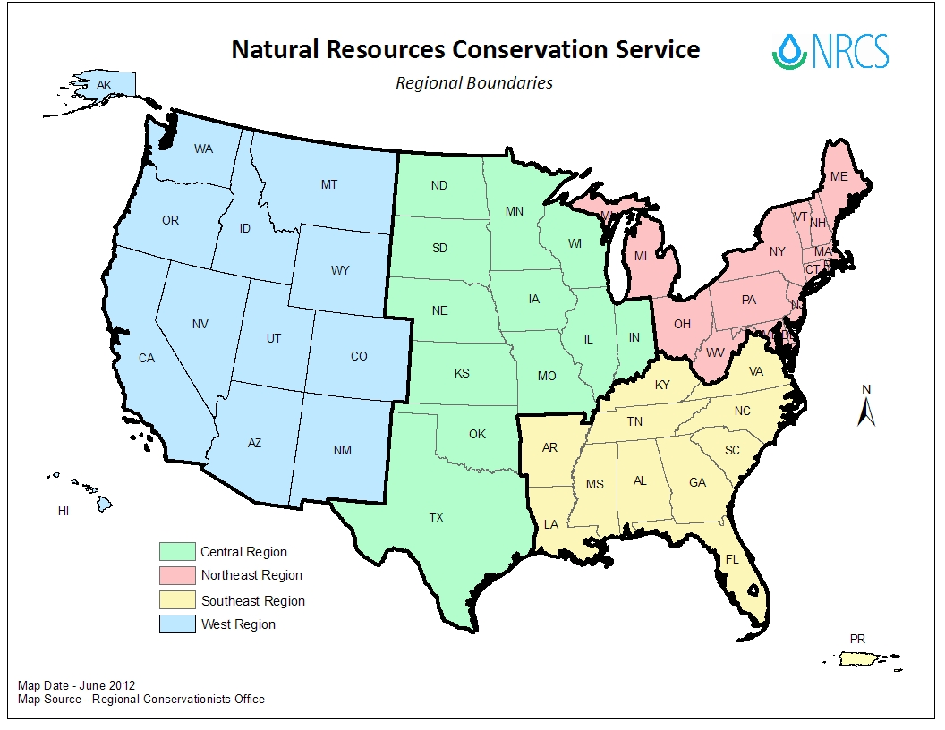 Map Of United States By Regions.Regional Boundaries State Offices Centers Nrcs