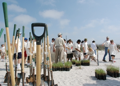 Earth Day coastal planting at Holly Beach