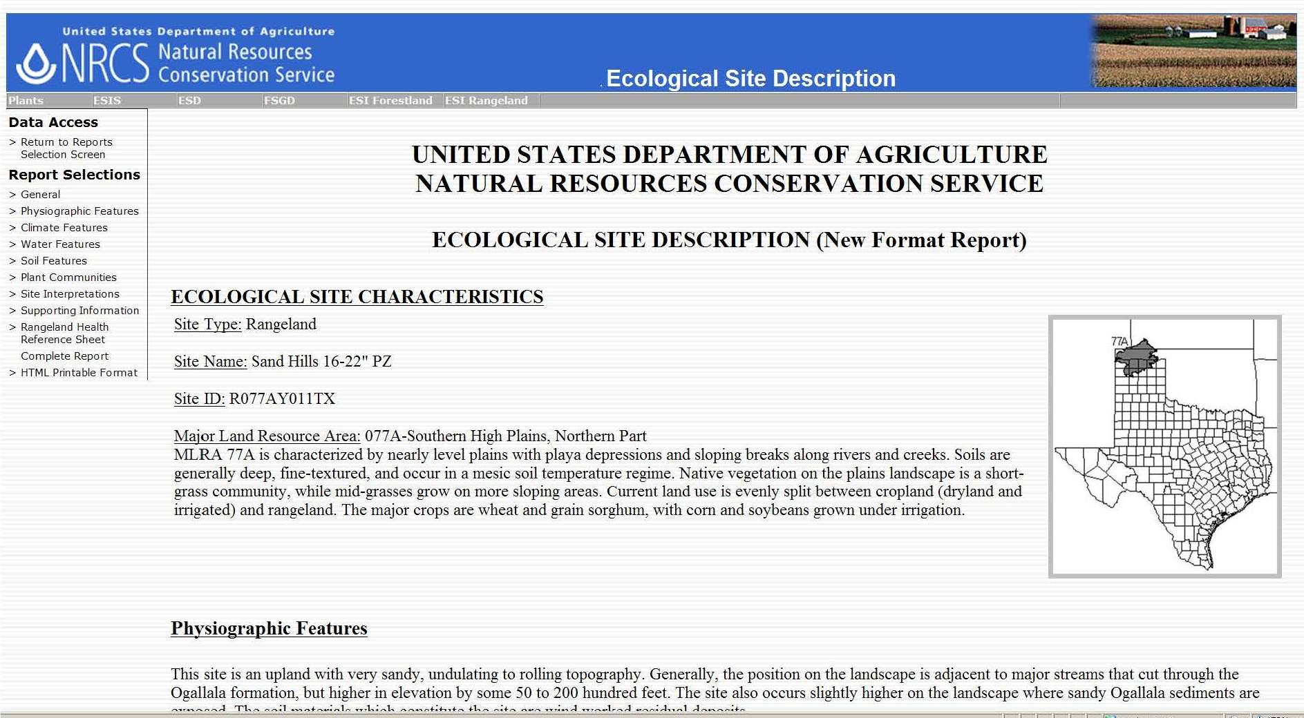 Ecological Site Description Report