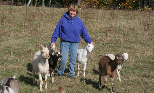 Paula Packard and her goats