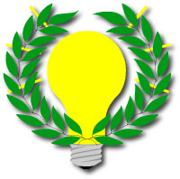 light bulb surrounded by laurel