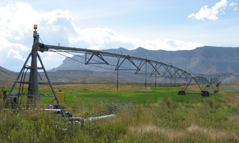 Roger Barton's center pivot irrigation system is running on green renewable energy.