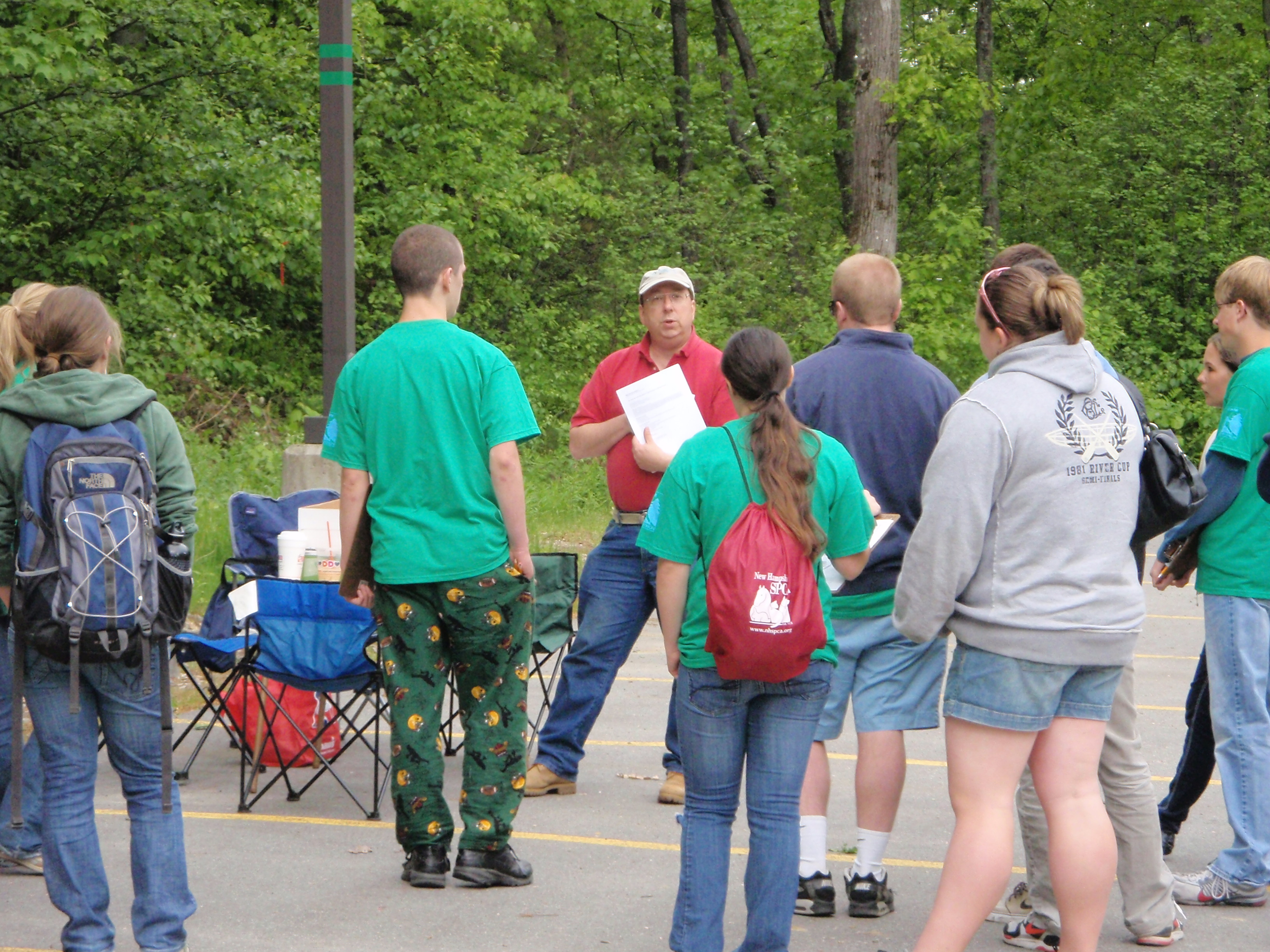 Handing out the Envirothon exam