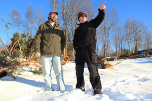 NRCS District Conservationist Vince Snyder and Michael Banas discuss the forestry project