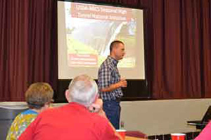 Trey Bethke, NRCS District Conservationist in Hempstead, speaks at a recent seasonal high tunnel meeting in Waller, which was hosted by Texas A&M AgriLife Extension Service and the Cooperative Extension Program at Prairie View A&M University.