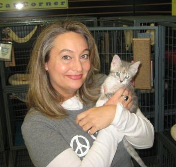 Lori Baker at the Kitten Corner in the Lexington Humane Society