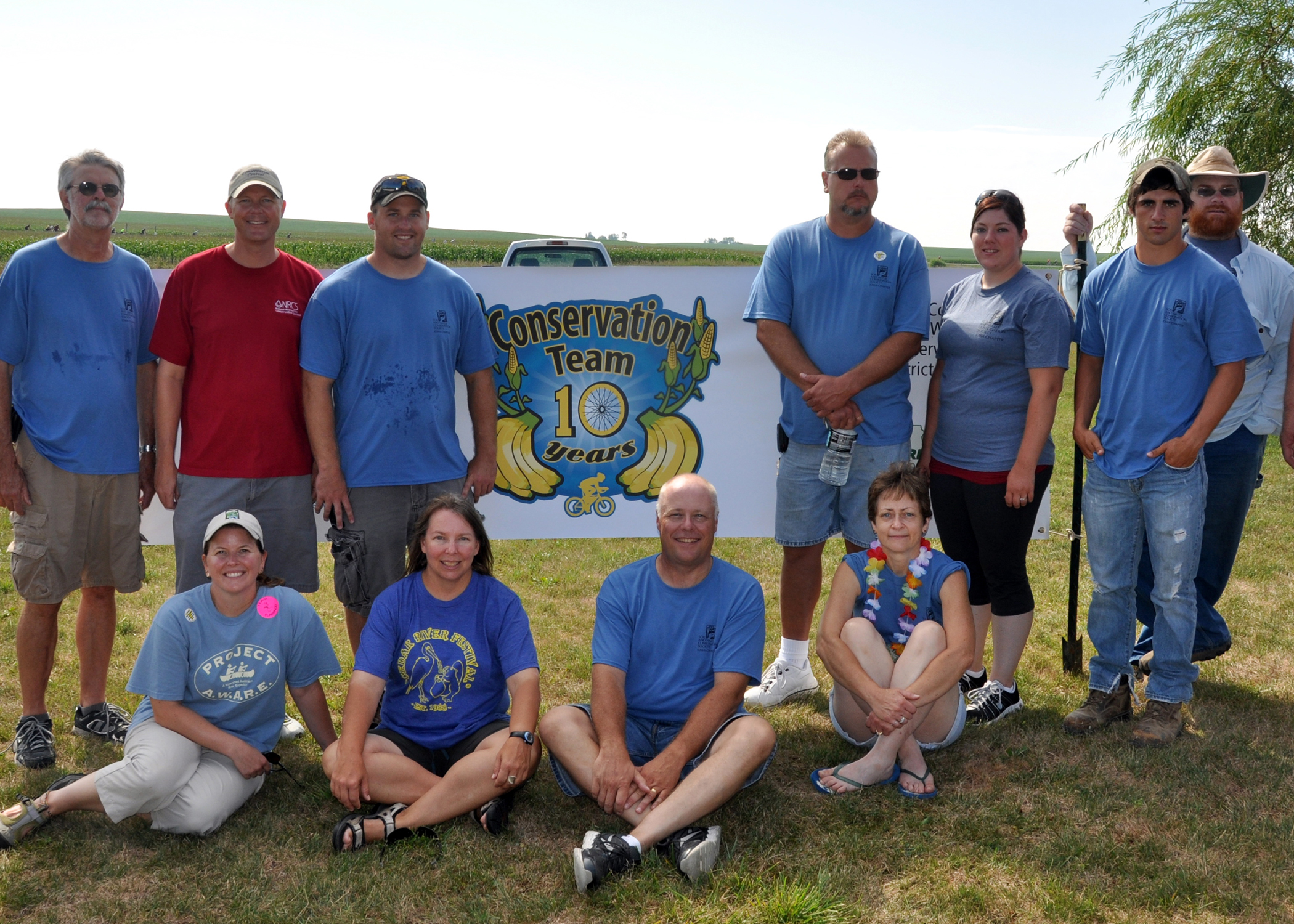 Volunteers gathered for a picture at the Iowa Conservation Team site near Clutier in 2012.