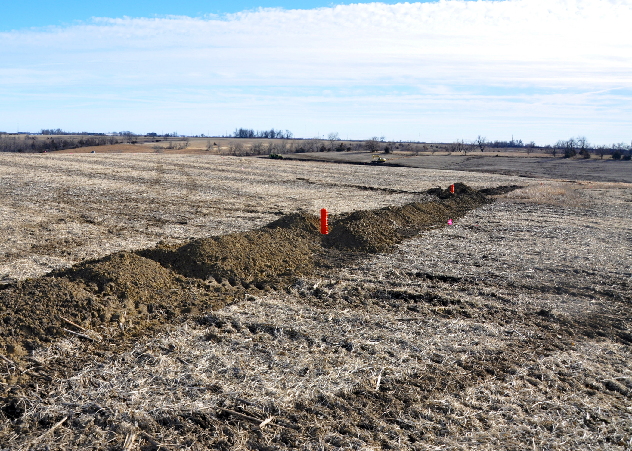 A Clarke County farmer was installing new terraces during a mild Jan 2012.
