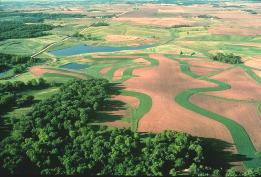 An ariel view of farmland with contour buffer strips applied