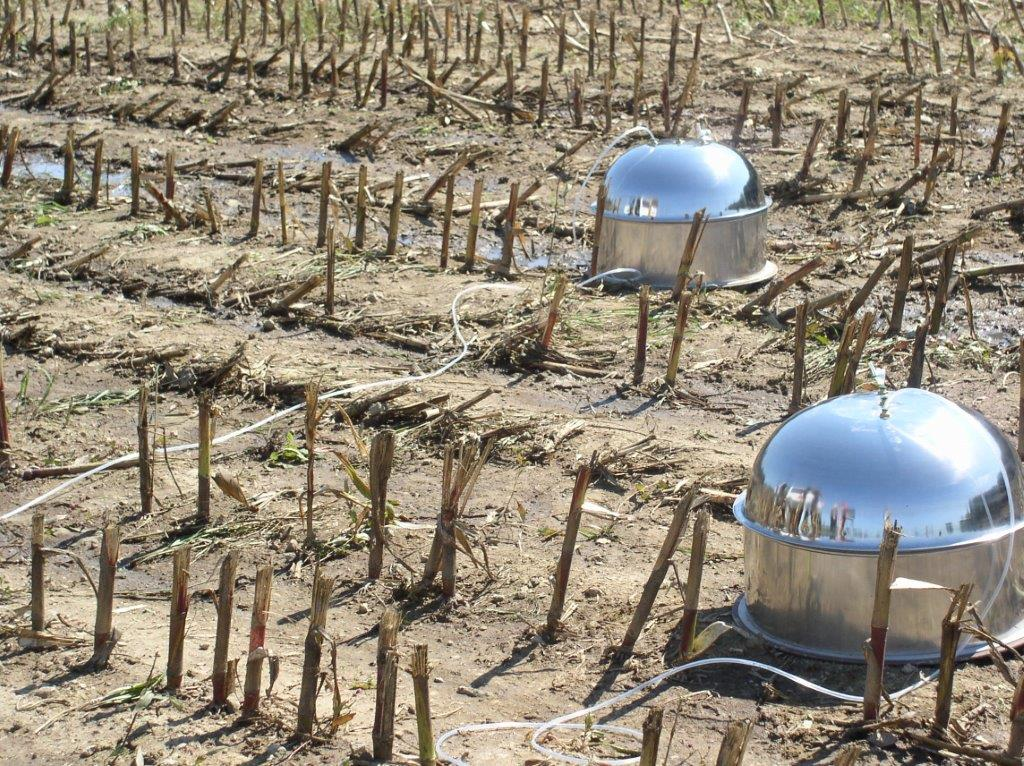 Domes capturing gases from cow manure that was just spread on a corn field