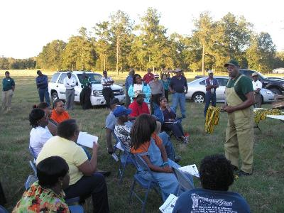 Frank Taylor, Winston County Selp-Help COOP, speaking at a Outreach Field Day in Jefferson County, MS