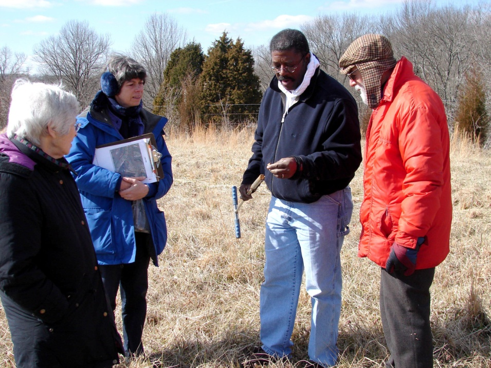 Kurt Mason braving a cold February day to teach landowners about soil health.