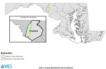 Map of Catoctin Creek Watershed in Frederick County, Maryland.