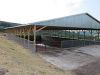 The exterior of the completed covered manure storage