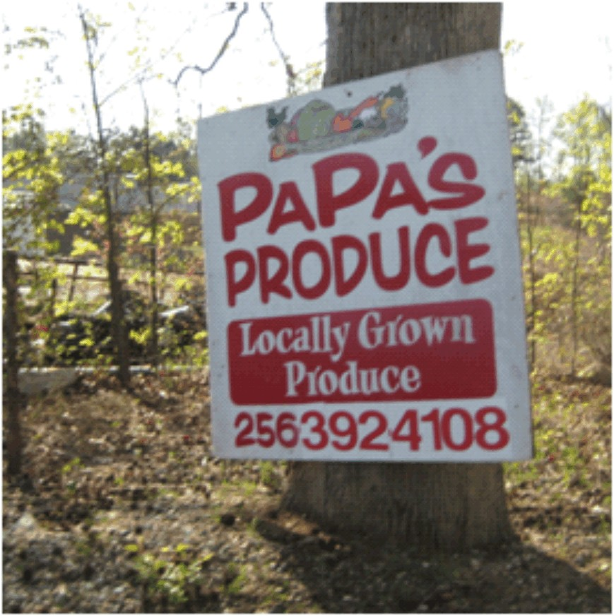 Papas Produce Sign