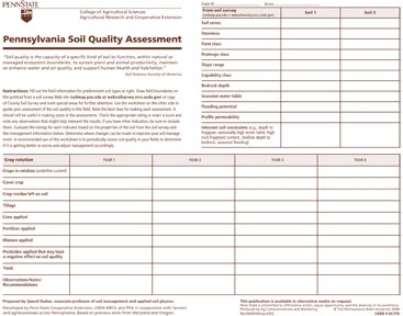 PA Soil Quality Assessment Worksheet