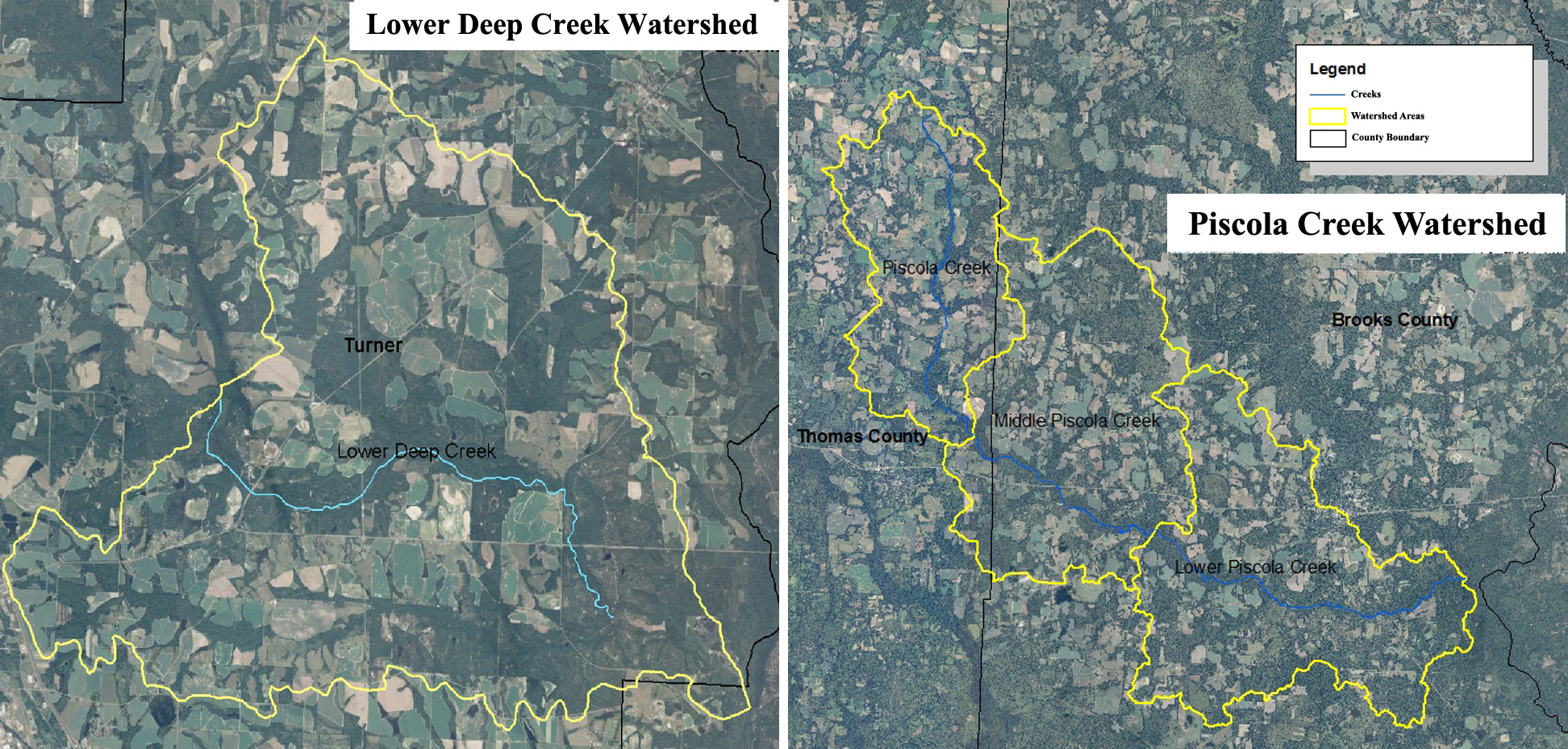 Above are maps of the four priority watersheds in Georgia. Left is Lower Deep Creek, located in Turner County and right is the Upper and Middle Piscola Creek, located in Thomas and Brooks Counties and Lower Piscola Creek located in Brooks County.