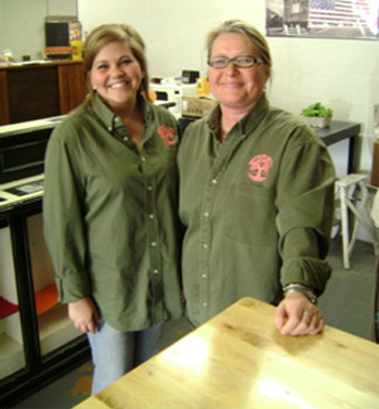 (l-r) Organic farmer Kim Prince and her helper Chelsea Woodruff